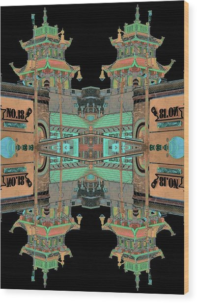 Wood Print featuring the photograph Pagoda Tower Becomes Chinese Lantern 1 Chinatown Chicago by Marianne Dow