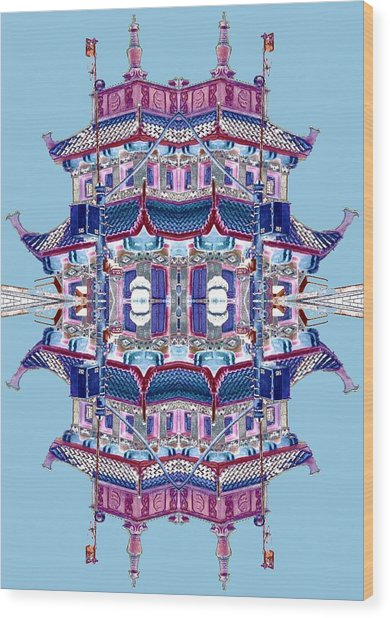 Wood Print featuring the photograph Pagoda Tower Becomes Chinese Lantern 2 Chinatown Chicago by Marianne Dow