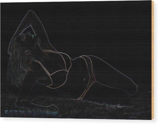 Paige On A White Rug Wood Print by Bob Krzmarzick
