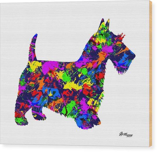 Paint Splatter Scottish Terrier Wood Print