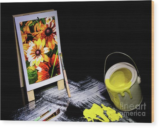 Painted Canvas Wood Print