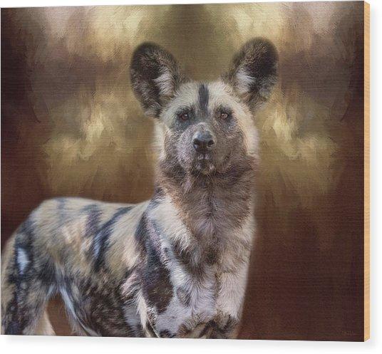 Painted Dog Portrait II Wood Print