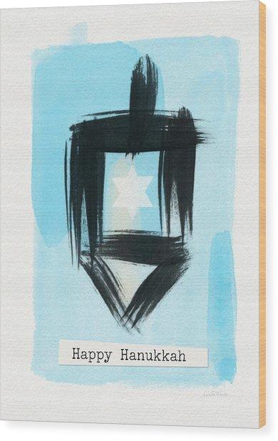 Painted Dreidel Happy Hanukkah- Design By Linda Woods Wood Print