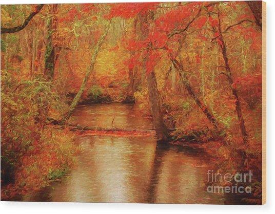 Painted Fall Wood Print