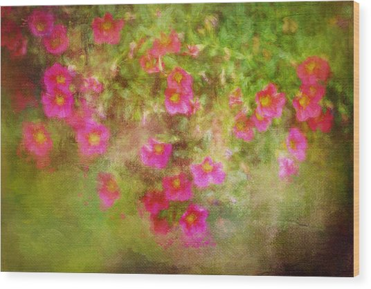 Painted Flowers Wood Print