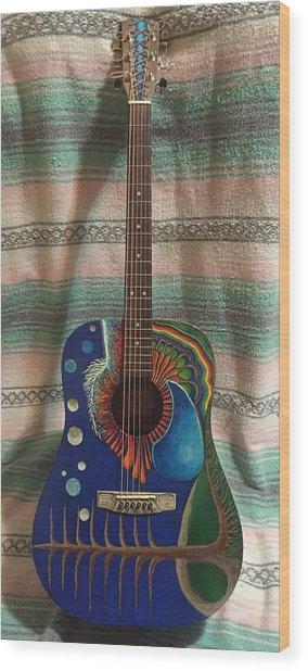 Painted Guitar Wood Print