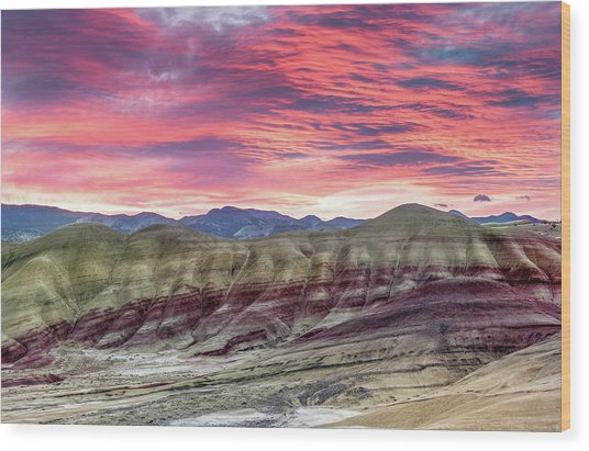 Painted Hills Sunrise Wood Print