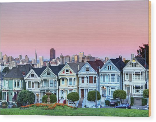 Painted Ladies At Dusk Wood Print