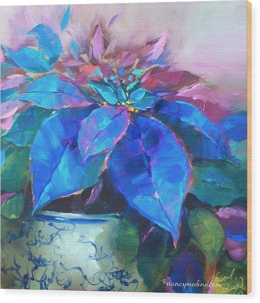 Painted Ladies Blue Poinsettias Wood Print