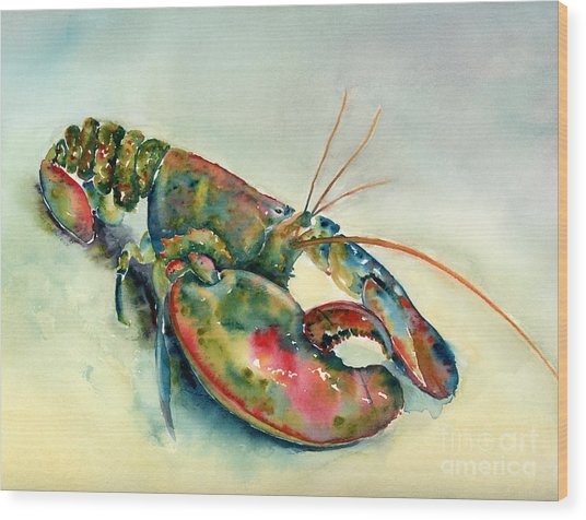 Painted Lobster Wood Print