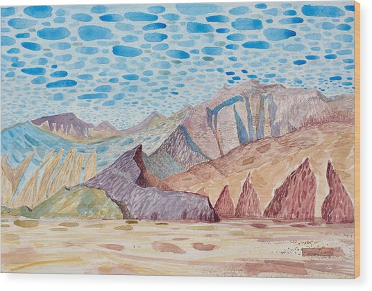 Painted Mountain II Wood Print by Vaughan Davies