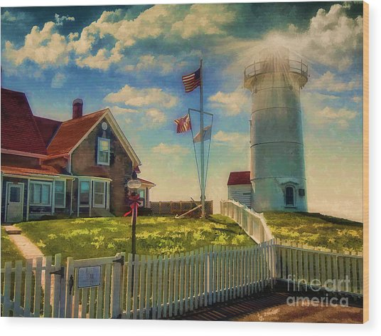 Painted Nobska Lighthouse On Cape Cod Wood Print