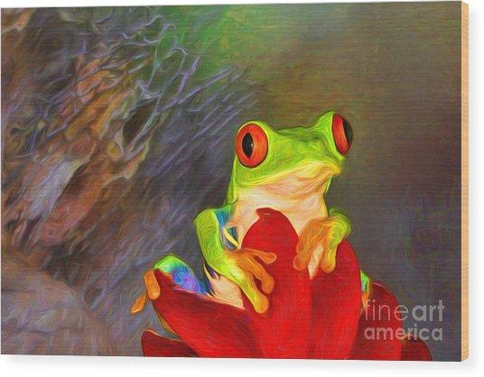 Painted Red Eyed Tree Frog Wood Print