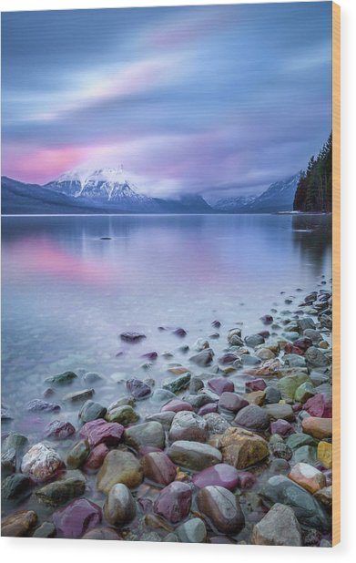 Painted Skies Over Stanton Peak // Lake Mcdonald, Glacier National Park Wood Print