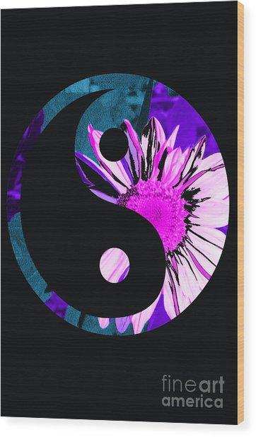 Painted Sunflower Yin Yang Wood Print