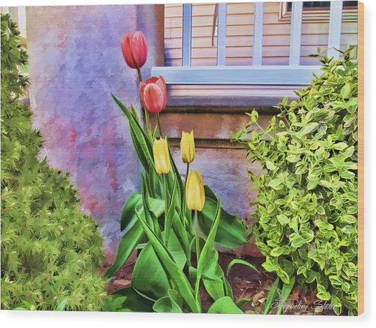 Painted Tulips Wood Print