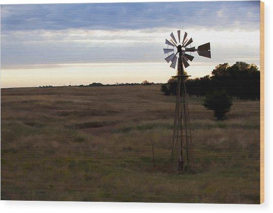 Painted Windmill Wood Print