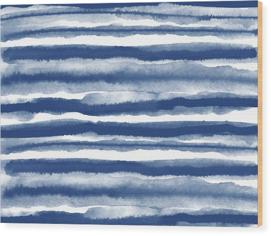 Painterly Beach Stripe 3- Art By Linda Woods Wood Print