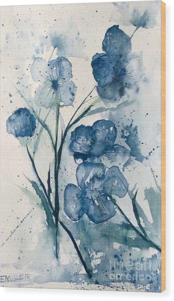 Painterly  Blues Wood Print