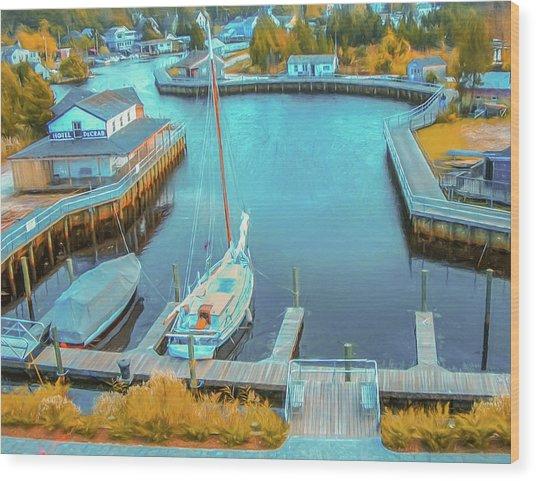 Painterly Tuckerton Seaport Wood Print