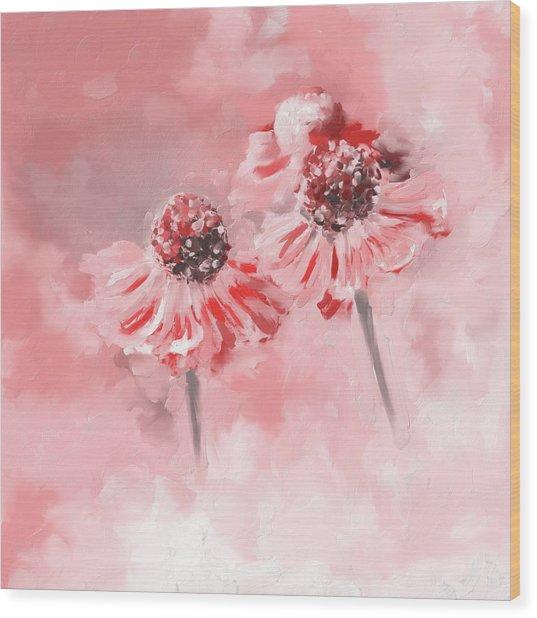 Painting 390 2 Twin Flowers Wood Print