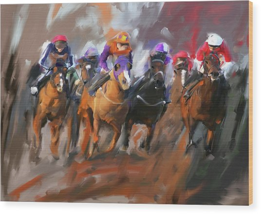 Painting 748 3 Horse Race 15 Wood Print