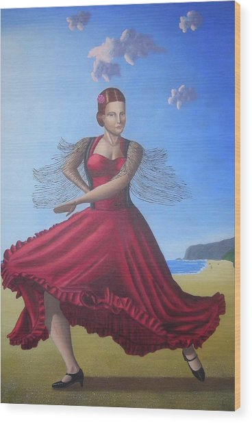 Painting Artwork Flamenco Dancing In Seville Beach  Wood Print by Luigi Carlo