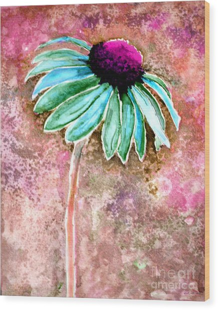 Wood Print featuring the painting Painting Cone Flower 8615d by Mas Art Studio