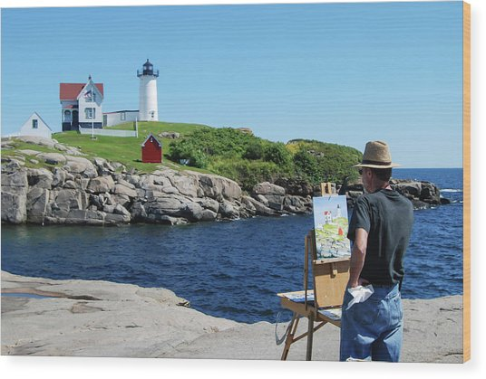 Painting Nubble Lighthouse Wood Print