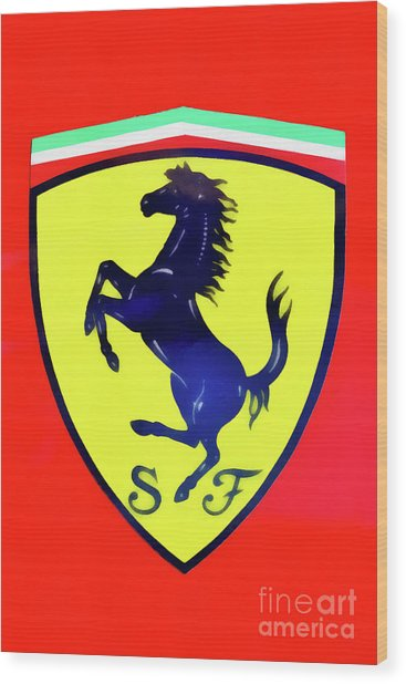 Painting Of Ferrari Badge Wood Print