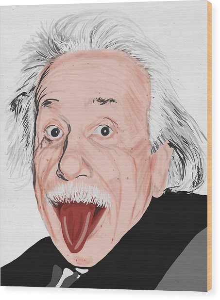 Painting Of Albert Einstein Wood Print