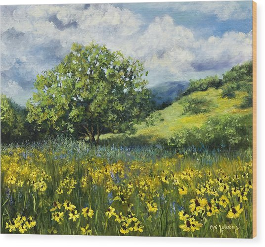 Painting Of Black-eyed Susans In Oklahoma Landscape Wood Print