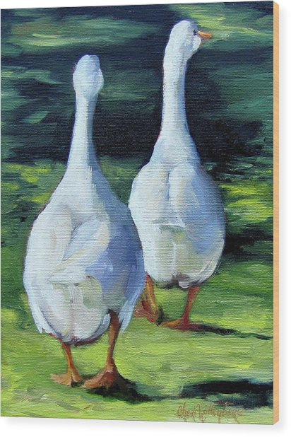 Painting Of Ducks Waddling Home Wood Print