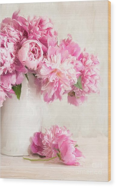 Painting Of Pink Peonies In Vase/digital Painting   Wood Print