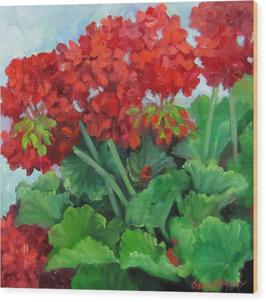 Painting Of Red Geraniums Wood Print