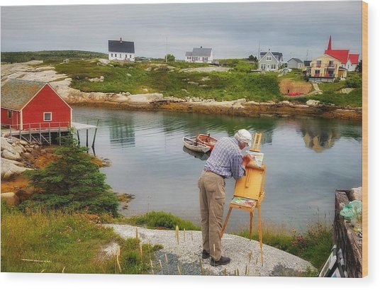 Painting Peggys Cove Wood Print