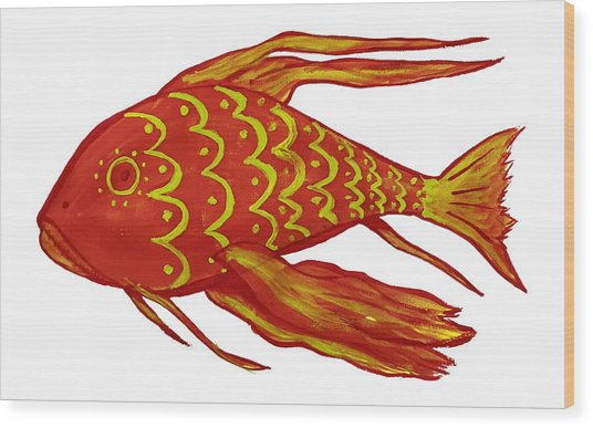 Painting Red Fish Wood Print