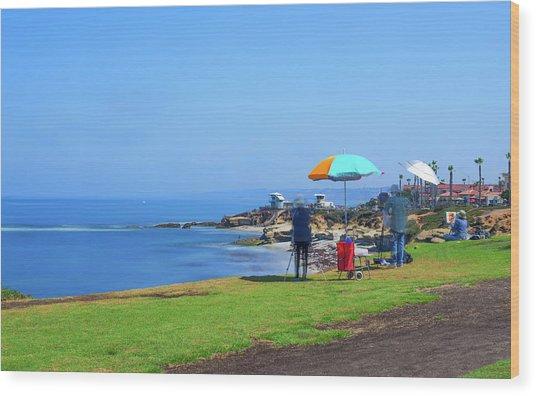 Painting The Coastline Wood Print