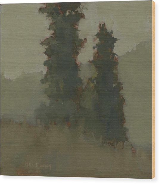 Pair Of Trees Wood Print