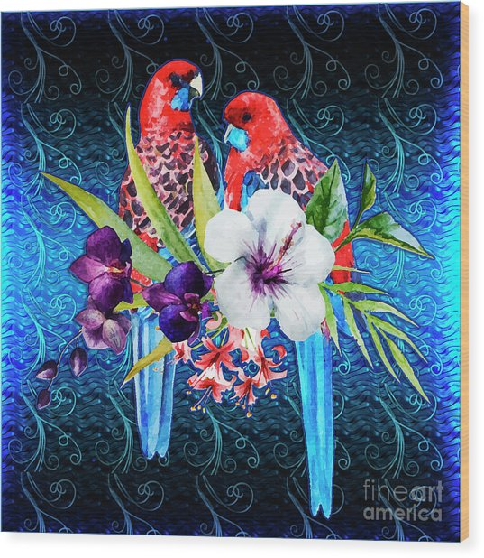 Paired Parrots Wood Print