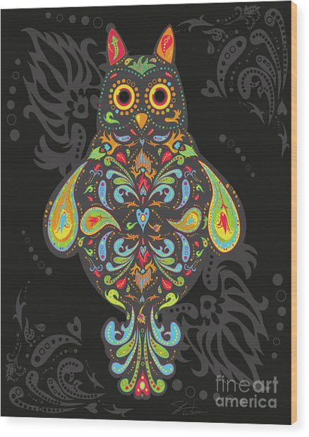 Paisley Owl Wood Print