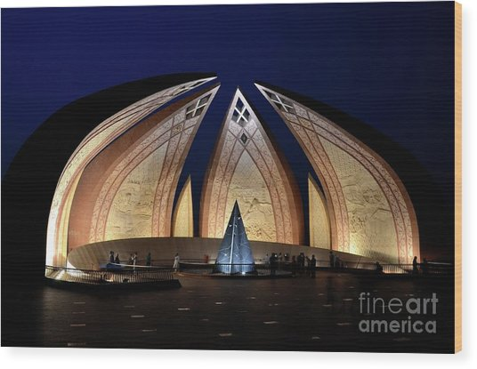 Pakistan Monument Illuminated At Night Islamabad Pakistan Wood Print