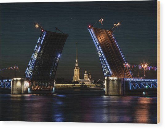 Palace Bridge At Night Wood Print