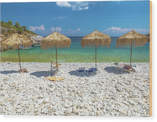 Palapa Umbrellas Wood Print