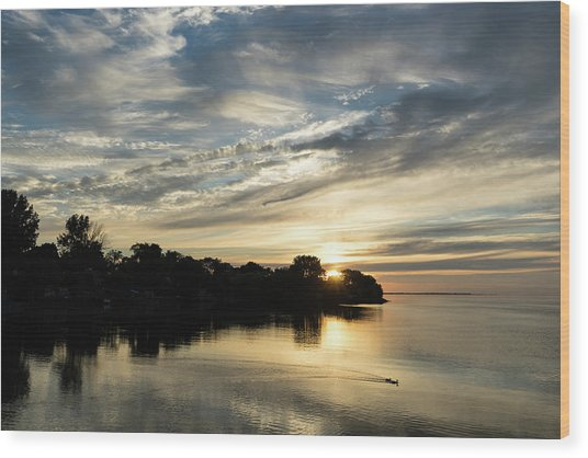 Pale Gold Sunrays - A Cloudy Sunrise With Two Ducks Wood Print