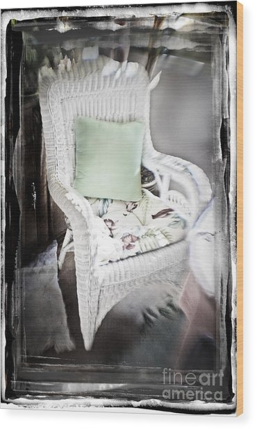 Pale Green Pillow Chair Wood Print