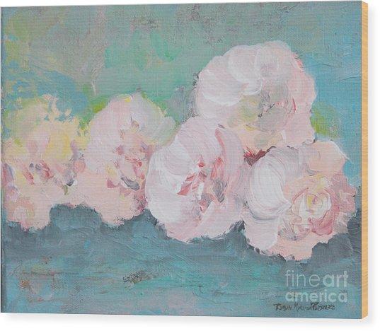 Pale Pink Peonies Wood Print