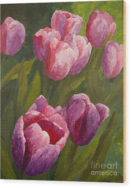 Palette Tulips Wood Print