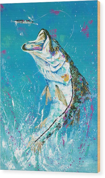 Pallet Knife Jumping Snook Wood Print