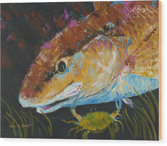 Pallet Knife Redfish And Blue Crab Wood Print